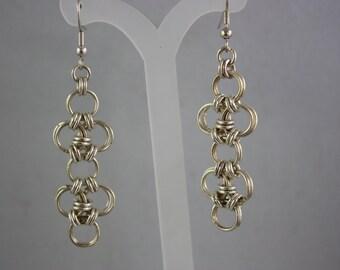 earrings, chain maille, hand made jewelry, handmade jewelry, chain maille earrings, metal earrings, drop earrings, dangle earrings,