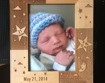 Laser Engraved Photo Frame Baby Birth Announcement
