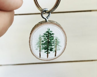 Watercolor Trees Keychain