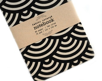 Black Circles Fabric Covered Notebook
