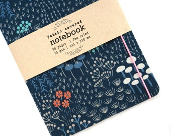 Wildflower Blue Fabric Covered Notebook