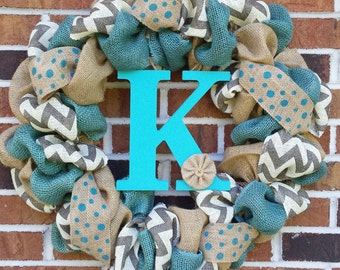 "18"" Blue & Gray Burlap Initial Wreath"
