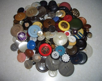 A Collection of Over 200 Buttons---Variety of Sizes,Shapes,and Colors