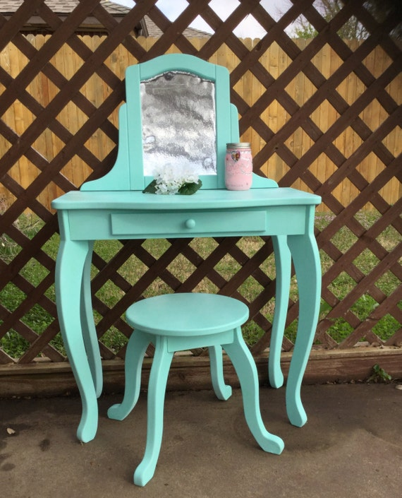 Upcycled Child 39 S Vanity Table With Stool Turquoise Aqua