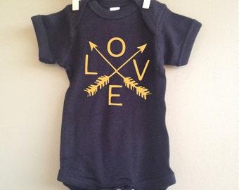 Love Arrow Infant Onesie, Hipster, Black, Gold, Short Sleeve, Gift