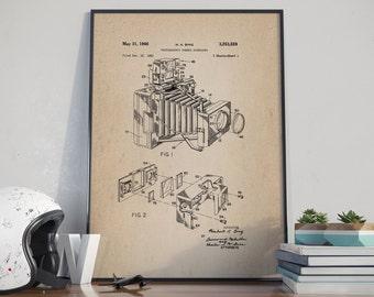 Camera Patent Print, Patent Print, Vintage Camera Poster, Photographer Poster, Retro Camera, Studio Decor, Home Decor - DA0051