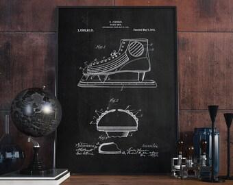 Hockey Skate Patent Poster, Vintage Hockey, Hockey Gift, Spots Decor, HockeyPoster - DA0118