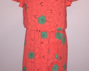 Vintage 80s Floral Ruffle Dress / size 12 / by J.B. Too