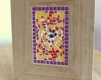 "Mosaic ""INFINITY"" art création - dim.14 cm x 9 cm - frame 26 cm x 21 cm - ép. 12 mm wood"