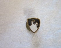 WWII Enameled Man Knight on Horse with Sword Black and White Division Insignia - Pinback