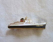 Antique Original Enameled Ship Brooch Pin RMS Saxonia Cunard Line