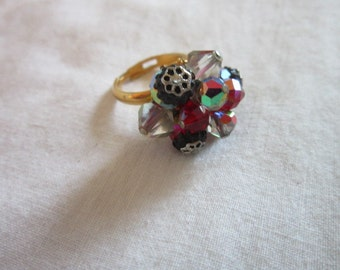 Vintage Retro Wild Cut Glass Aurora Borealis Adjustable Statement RING