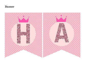 Pink Glitter Princess Banner, Instant Download, Printable Banner, Birthday Party, Bridal Shower, Pink Glitter banner