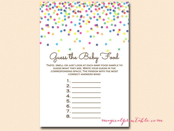 Fabulous image for guess the baby food game printable