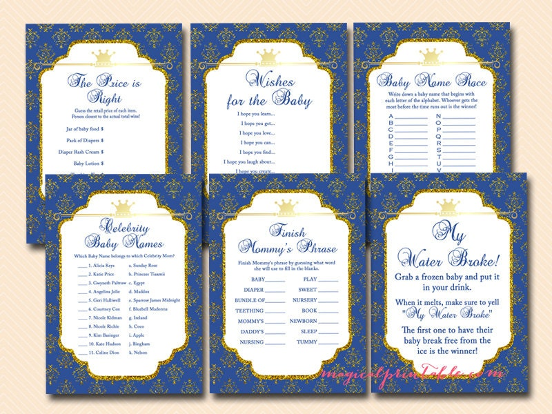 prince baby shower games instant download printable games