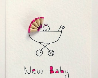 Handmade Colouring Pencil Card (New Baby Girl)