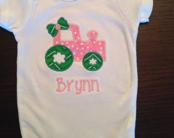Girly Tractor bodysuit baby girl tractor with bow