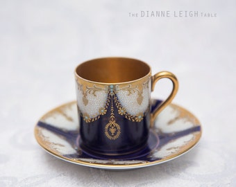 Stunning deep blue and gold vintage demitasse