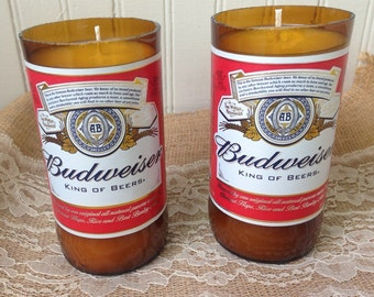 9oz Budweiser Beer Bottle Candle - Made With All Natural Soy Wax with Warm Vanilla Scent
