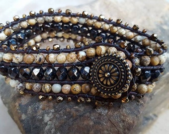 Cuff Bracelet, Brown and Black Cuff, Bohemian Wrap Bracelet
