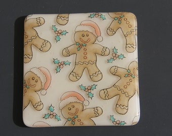 Gingerbread man 4 fused glass coasters, Christmas glass coasters, Christmas present, fused glass, Christmas coasters, Christmas glass,