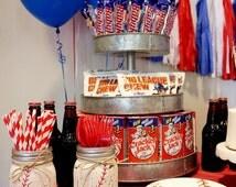 Painted Mason Jar Set. Baseball Themed. Party Decor. Baseball Mason Jar. Baseball Home Decor. Baseball Baby Shower.