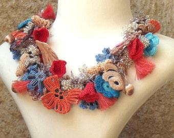 Turkish OYA Lace - Necklace - Bijou - Persimmon & Blue