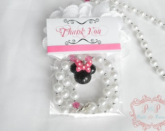 Minnie Mouse Hot Pink birthday party favor, bag, chunky, necklace, matching, girl, black, ears, gift, loot, thank you, slumber, photo prop