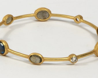 Hammered Round 2.5inch Bangle .925SterlingSilver with 18kt Gold MicronPlating with Labrodrite Aquamarine Pearl Gemstones