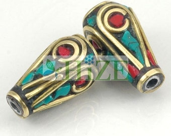 HIZE TBE55 Nepalese Tibetan Turquoise Red Coral Inlaid Brass Oval Cone Tube Beads 7mm (6)