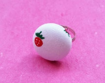 Strawberry ring, fabric jewellery, button jewelry, Wimbledon, British summer, fruit jewellery, fun ring, party bag filler,