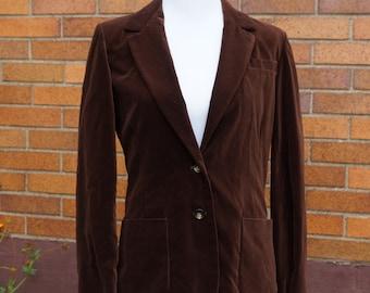 Brown Velvet Blazer, 70s, Lined, Pockets, boyfriend blazer, shoulder pads, preppy, professor, Vintage