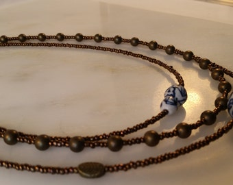 Multi Strand Brown Seed Bead Necklace