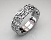 Modern French 14K White Gold 100 Preset Diamond Cluster Mens Wedding Ring R1042-14KWGD