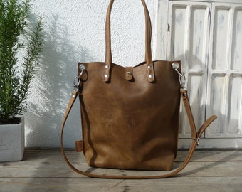 Leather tote, sturdy leather tote, brown leather tote, leather tote woman, leather tote women, leather tote vintage, shopper Claire - brown!