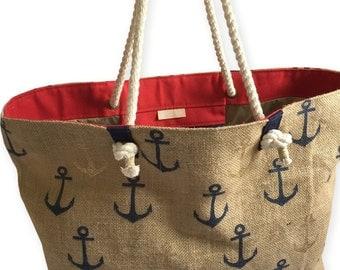 Nautical Bags with Rope Handles, Burlap Tote  Bag Lined Waterproof Fabric.