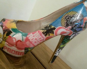 Ibiza inspired decoupage shoes