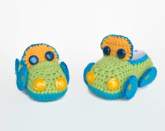"""Boy Cars booties Crochet baby moccasins """"McQueen cars"""" Crochet baby shoes Baby boy shoes Infant moccasins Newborn booties Baby boy booties"""