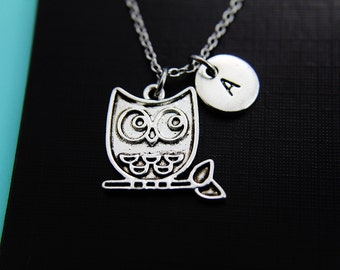 Owl Necklace, Silver Owl Charm Necklace, Owl Charms, Personalized Necklace, Initial Charm, Initial Necklace, Customized Jewelry