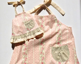 Matching Aprons | Mother Apron | Girl Apron | Doll Apron | Pink Apron