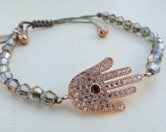 Rose Gold Hamsa Hand, Hand of Fatima Charm, Yoga Bracelet with Gunmetal Bicones