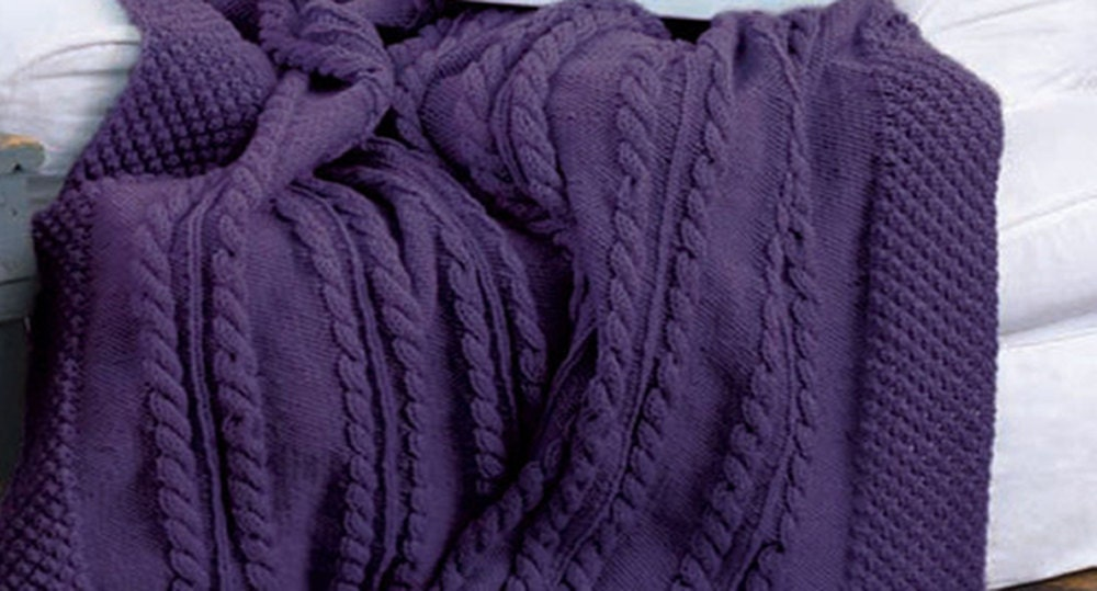 Knitted Pillows Patterns : PDF Knitting Pattern Aran cable knit blanket pattern