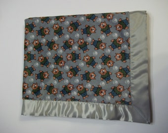 Personalized Satin Edged Baby Blanket - Werewolf Minky with Hunter Green Minky Backing