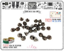 FREE SHIPPING 100Pcs 8mm Acrylic Gunmetal SPIKE sew on Cone Spikes Beads Sewing Charms Pendants Decoration.