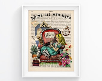 Alice In Wonderland Vintage Illustration Print Decorative Art Book Page Upcycled Page Print Wall decor Retro Poster Vintage Book print 085