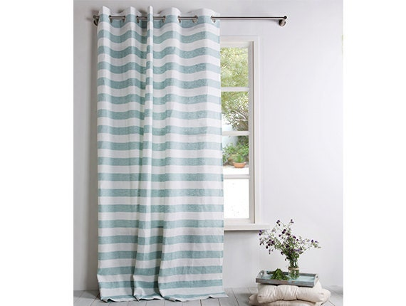 linen curtain curtains striped linen mint green and white color window