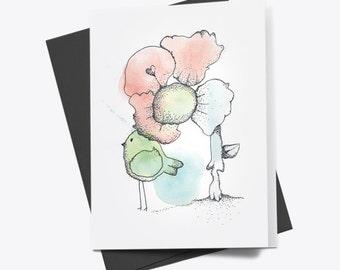 Flower & Bird Greeting Card