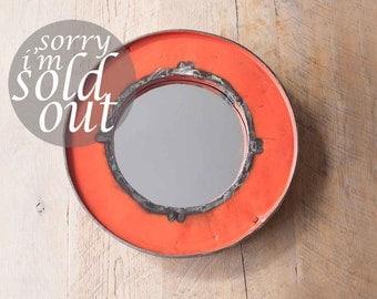Reclaimed Oil Drum Mirror In Orange