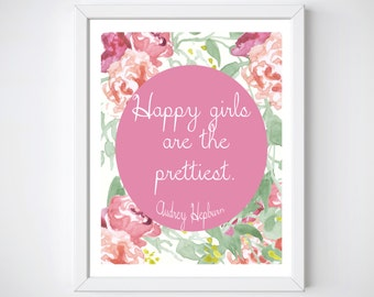 Happy Girls Are The Prettiest, Audrey Hepburn Wall Art, Happy Girls Are The Prettiest, Baby Girl Nursery Decor, Nursery Art Printable,
