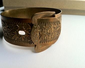 Victorian brass belt, bracelet bracelet, vintage Victorian bracelet bangle, cuff, bracelet, belt vintage floral jewelry